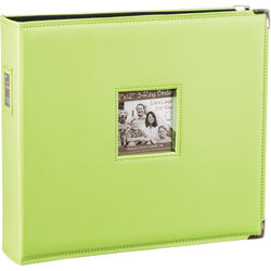 "Pioneer Photo Albums T-12JF 12x12"" 3-Ring Binder Sewn Leatherette Silver Tone Corner Scrapbook (Green)"
