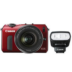 Canon EOS M Mirrorless Digital Camera with 18-55mm Lens and Flash Kit (Red)