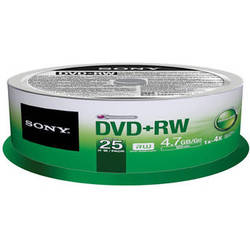 Sony DVD+RW 4.7 GB Recordable Discs (Spindle Pack of 25)