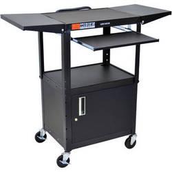 Luxor Adjustable Height Steel A/V Cart with Keyboard Shelf, Drop Leaf Shelves, and Cabinet (Black)