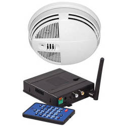 KJB Security Products SC7450 Xtreme Life Night-Vision Smoke Detector Covert Indoor IR Color Camera with QUAD Receiver (Bottom-View, NTSC)