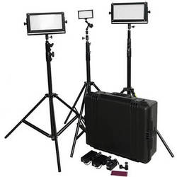 Flolight MicroBeam 1- 128 / 2- 512 LED 3 Daylight Flood Kit with Stands and Hard Case