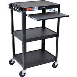 Luxor AVJ42KB Steel Adjustable A/V Cart with Pull-Out Keyboard Tray (Black)