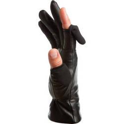 Freehands Women's Leather Gloves (Medium, Black)