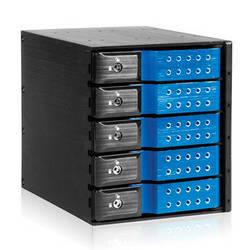 "iStarUSA 3x 5.25"" to 5x 3.5"" Trayless SAS/SATA 6.0 Gb/s Hot-Swap Cage(Blue)"