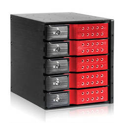 """iStarUSA 3x 5.25"""" to 5x 3.5"""" Trayless SAS/SATA 6.0 Gb/s Hot-Swap Cage(Red)"""