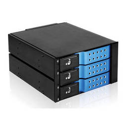 "iStarUSA 2 x 5.25"" to 3 x 3.5""SAS/SATA 6 Gb/s Trayless Hot-Swap Cage (Blue)"
