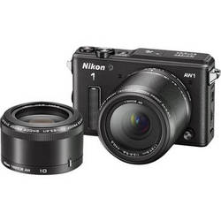 Nikon 1 AW1 Mirrorless Digital Camera with 11-27.5mm and 10mm Lenses (Black)