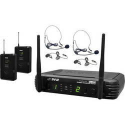 Pyle Pro PDWM3400 UHF Wireless Microphone System with Two Bodypacks, Two Headset Microphones, and Two Lavalier Microphones (673 to 697.975 MHz)