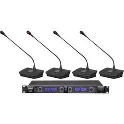 Pyle Pro PDWM4700 Professional Rack-Mount 4-Channel UHF Desktop Wireless Microphone System (470-608 and 614-698 MHz)