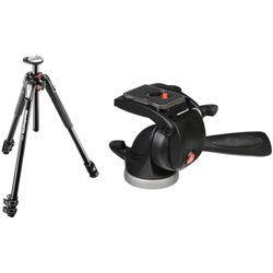 Manfrotto MT190XPRO3 Aluminum Tripod Kit with 391RC2 Junior 3-Way Pan/Tilt Head and RC2 Quick-Release System