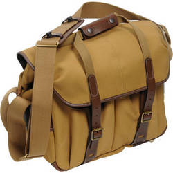 Billingham 307L Camera and Laptop Shoulder Bag (Khaki with Chocolate Leather)