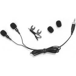 Pyle Pro Dual Electret Condenser Cardioid Lavalier Microphone for Sennheiser Belt Pack Systems (Black)