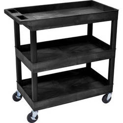 "Luxor 32 x 18"" Three-Shelf Utility Cart (Black)"