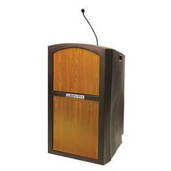 AmpliVox Sound Systems Pinnacle Multimedia Lectern with Mic (Medium Oak)