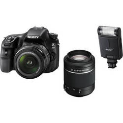 Sony Alpha SLT-A58 DSLR Camera Kit with 18-55mm & 55-200mm Lenses and Flash