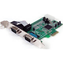StarTech 2-Port RS-232 Serial PCIe Adapter Card with 16550 UART (Green)