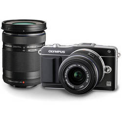 Olympus E-PM2 Mirrorless Micro Four Thirds Digital Camera with 14-42mm and 40-150mm Lenses Kit (Black)