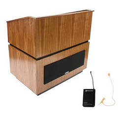 AmpliVox Sound Systems Coventry Wireless Lectern with Sound System and Over-Ear Headset (Walnut)