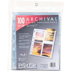 "Print File 35-8P Archival Storage Page for 8 Prints (3.5 x 5"", 100-Pack)"