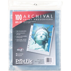 """Print File 811-2P Archival Storage Page for 2 Prints (8.5 x 11"""", 100-Pack)"""