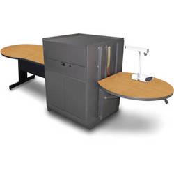 "Marvel Vizion Keyhole Table with Media Center (48"", Steel Doors, Oak Laminate)"