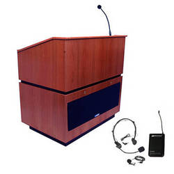 AmpliVox Sound Systems Coventry Lectern with Sound System and Wireless 16 Channel UHF Lapel and Headset Mic Kit (Mahogany)