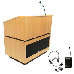 AmpliVox Sound Systems Coventry Lectern with Sound System and Wireless 16 Channel UHF Lapel and Headset Mic Kit (Maple)