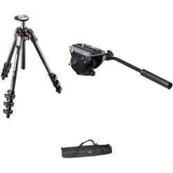 Manfrotto MVH500AH Flat Base Fluid Head, MT190CXPRO4 Tripod Legs,Padded Case Kit