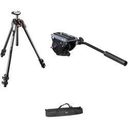 Manfrotto MVH500AH Flat Base Fluid Head/MT190CXPRO3 Tripod Legs/Padded Case Kit