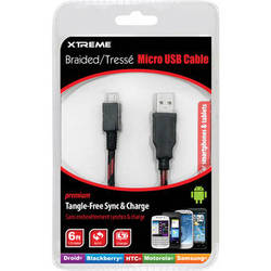 Xtreme Cables Micro USB 2.0 Sync and Charge Cable (6' / Red & Black)
