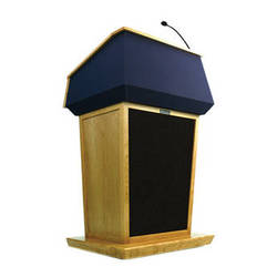 AmpliVox Sound Systems Patriot Lectern With Sound System (Maple with Blue Canvas Accent)