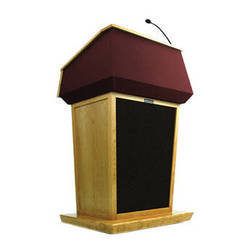 AmpliVox Sound Systems Patriot Lectern With Sound System (Maple with Red Canvas Accent)