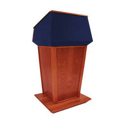 AmpliVox Sound Systems Patriot Plus Lectern (Non-Sound, Mahogany with Blue Canvas Accent)