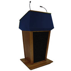 AmpliVox Sound Systems Patriot Plus Lectern with Sound System (Walnut with Blue Canvas Accent)
