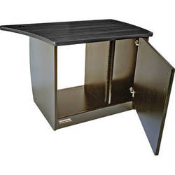 Omnirax OM13DR 13-Space Rack Cabinet with Door for Right Side of OmniDesk (Black Melamine)
