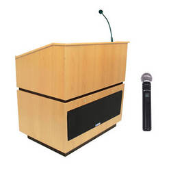 AmpliVox Sound Systems Coventry Wireless Lectern with Handheld Mic (Maple)