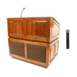 AmpliVox Sound Systems Ambassador Wireless Lectern with Handheld Mic (Natural Cherry)