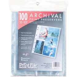 """Print File 35-10P Archival Storage Page (3.5 x 5"""", 100-Pack)"""