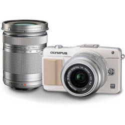 Olympus E-PM2 Mirrorless Micro Four Thirds Digital Camera with 14-42mm and 40-150mm Lenses Kit (White)