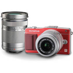 Olympus E-PM2 Mirrorless Micro Four Thirds Digital Camera with 14-42mm and 40-150mm Lenses Kit (Red)