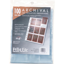 """Print File 120-9HB Archival Storage Page for 9 Negatives (2.6 x 3.6"""" Pockets, 100-Pack)"""