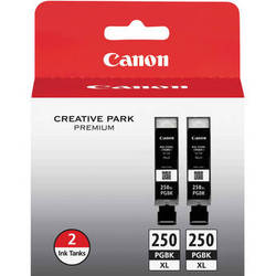 Canon PGI-250PGBK XL High-Capacity Pigment Black Ink Cartridge (2 Pack)
