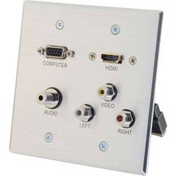 C2G HDMI, VGA, 3.5mm Audio, Composite Video and RCA Stereo Audio Pass Through Double Gang Wall Plate - Aluminum