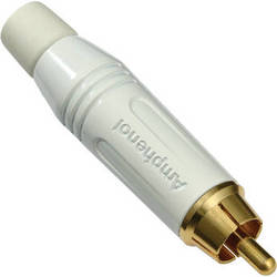 Amphenol AC Series RCA Male Cable Connector with Diecast Shell (White)