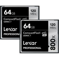 Lexar 64GB CompactFlash Memory Card Professional 800x UDMA 7 (2-Pack)
