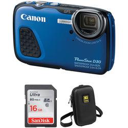 Canon PowerShot D30 Waterproof Digital Camera Basic Kit (Blue)