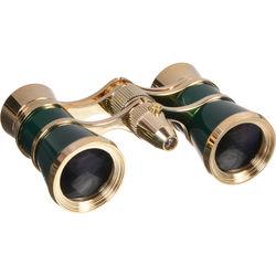 LaScala Optics 3x25 Aida Opera Glasses with Red Flashlight (Green & Gold)