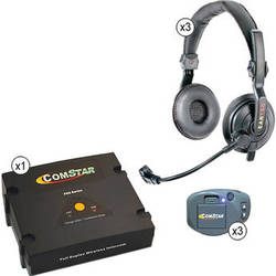 Eartec ComStar XT Full Duplex Wireless System with Slimline Double Headsets (3 User)