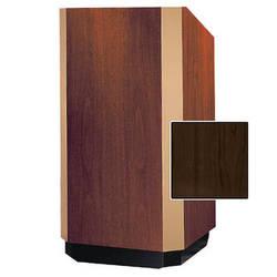 """Da-Lite 32"""" Yorkshire Floor Lectern with Sound (Heritage Walnut Veneer, Brass Trim, 220VAC)"""